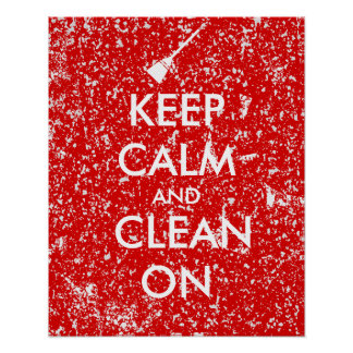 Keep Calm and Clean On Broom Custom Poster