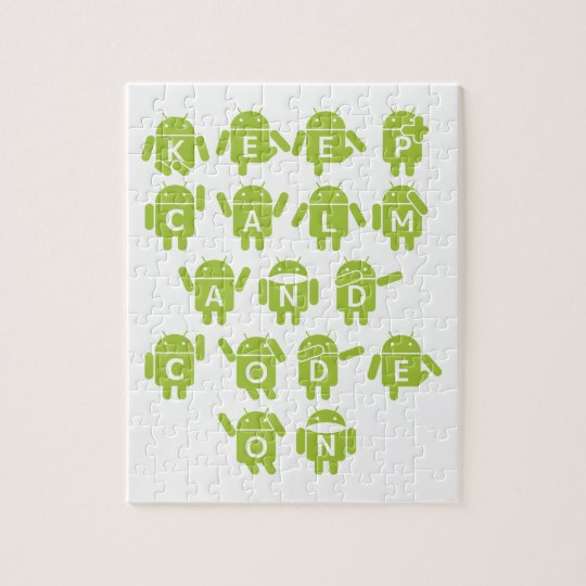Keep Calm And Code On Software Developer Bugdroid Jigsaw Puzzle