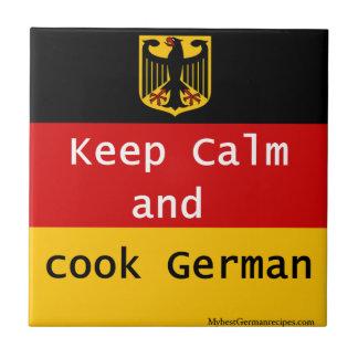 Keep Calm and Cook German Tile