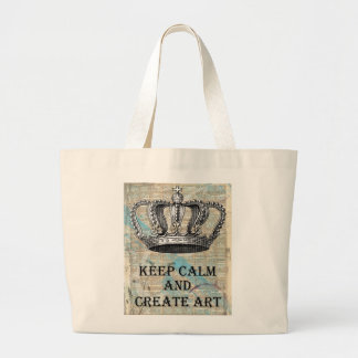 Keep Calm and Create Art Vintage Graphic Design Large Tote Bag