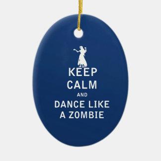Keep Calm and Dance Like a Zombie Ceramic Oval Ornament