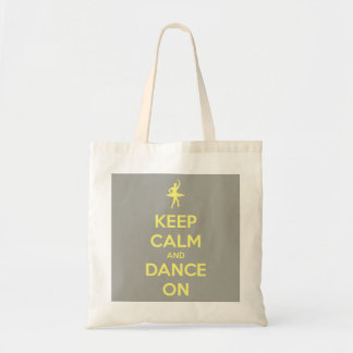 Keep Calm and Dance On Grey and Yellow Budget Tote