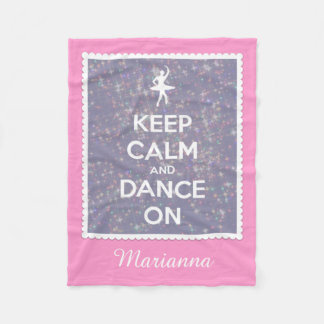 Keep Calm and Dance On Lavender Bokeh Personalized Fleece Blanket