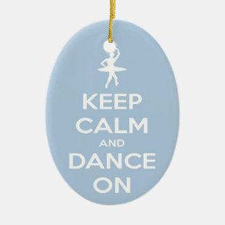 Keep Calm and Dance On Light Blue Ceramic Oval Ornament