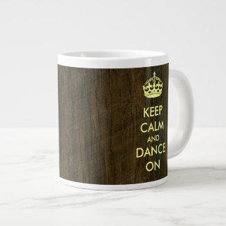 Keep Calm and Dance on Rosewood Palisander Large Coffee Mug