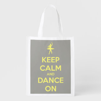 Keep Calm and Dance On Yellow on Grey Personalized Reusable Grocery Bags