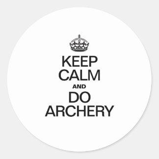Keep Calm and Do Archery Classic Round Sticker