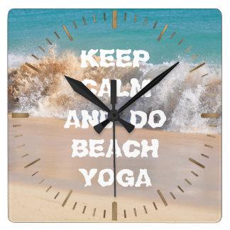 Keep Calm and DO BEACH YOGA inspiring words Wallclock