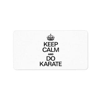 KEEP CALM AND DO KARATE ADDRESS LABEL