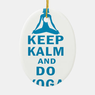 keep calm and do yoga ceramic ornament