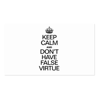 KEEP CALM AND DONT HAVE VIRTUE BUSINESS CARD TEMPLATE