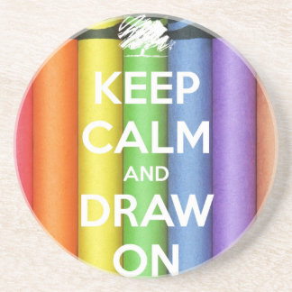 Keep Calm and Draw On Colours Coaster