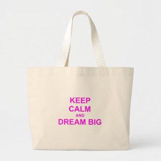 Keep Calm and Dream Big red pink orange Tote Bag