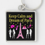 KEEP CALM AND DREAM OF PARIS Silver-Colored SQUARE KEYCHAIN