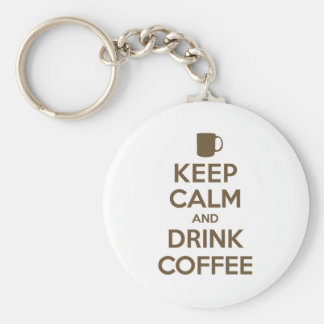 Keep Calm and Drink Coffee Basic Round Button Keychain