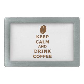 KEEP CALM AND DRINK COFFEE RECTANGULAR BELT BUCKLE