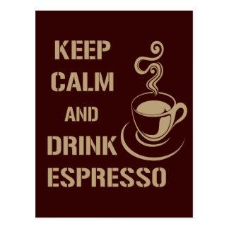 Keep Calm and Drink Espresso Postcard