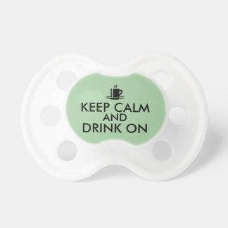 Keep Calm and Drink On Coffee Tea Customizable Pacifier