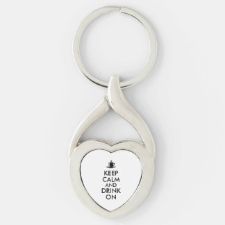 Keep Calm and Drink On Coffee Tea Customizable Silver-Colored Twisted Heart Keychain