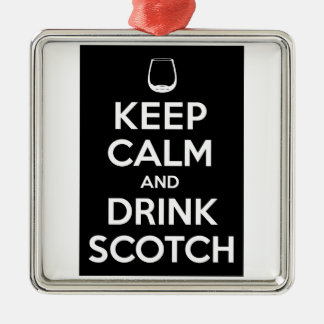 Keep Calm and Drink Scotch Silver-Colored Square Ornament