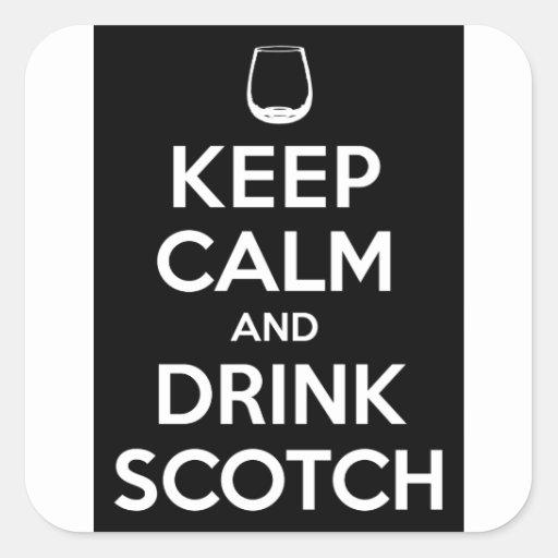Keep Calm and Drink Scotch Square Sticker
