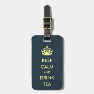Keep Calm and Drink Tea Blue Natural Kraft Paper Luggage Tag