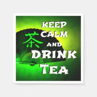 keep calm and drink tea paper napkins