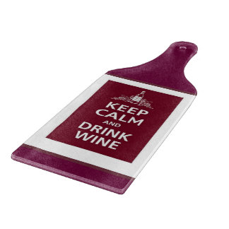 """""""KEEP CALM AND DRINK WINE"""" CHEESE CUTTING BOARD"""