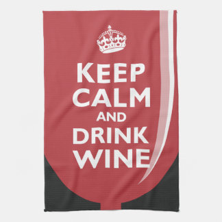 Keep Calm and Drink Wine Hand Towels
