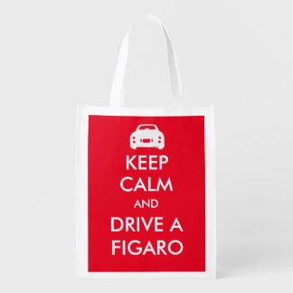 Keep Calm and drive a Figaro reusable bag Reusable Grocery Bags
