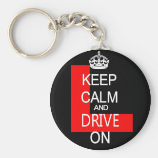Keep Calm and drive on L plate Basic Round Button Keychain