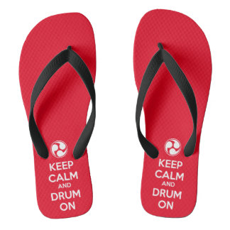 Keep Calm and Drum On Flip Flops