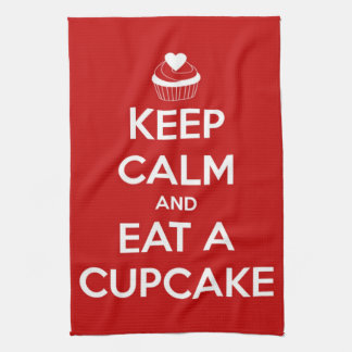 Keep Calm and Eat A Cupcake Red Kitchen Towel
