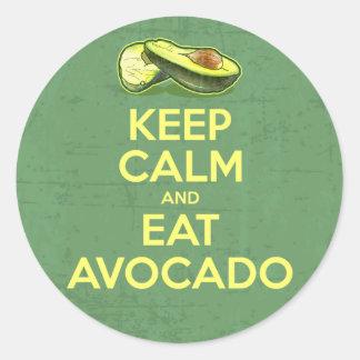 Keep Calm And Eat Avocado Classic Round Sticker