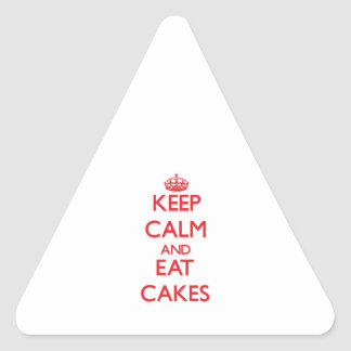 Keep calm and eat Cakes Triangle Stickers