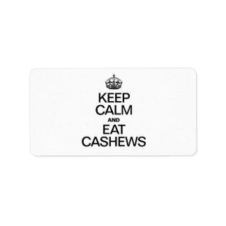 KEEP CALM AND EAT CASHEWS CUSTOM ADDRESS LABEL