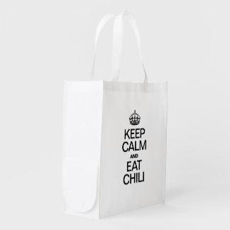 KEEP CALM AND EAT CHILI REUSABLE GROCERY BAG