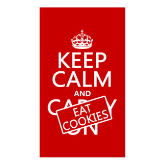 Keep Calm and Eat Cookies (customizable) Pack Of Standard Business Cards