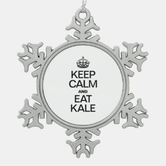 KEEP CALM AND EAT KALE PEWTER SNOWFLAKE ORNAMENT