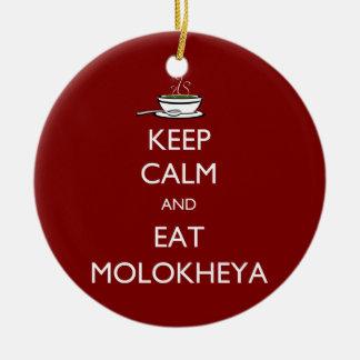 Keep Calm and Eat Molokheya Round Ceramic Ornament