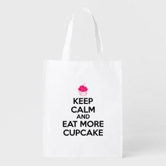 Keep Calm And Eat More Cupcake Reusable Grocery Bag