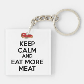 Keep Calm And Eat More Meat Double-Sided Square Acrylic Keychain