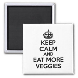 Keep Calm And Eat More Veggies Square Magnet
