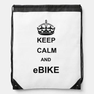 """Keep calm and ebike"" drawstring bags"