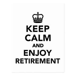 Keep calm and enjoy retirement postcard