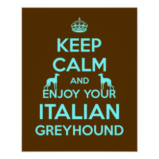 Keep Calm and Enjoy your Italian Greyhound Poster