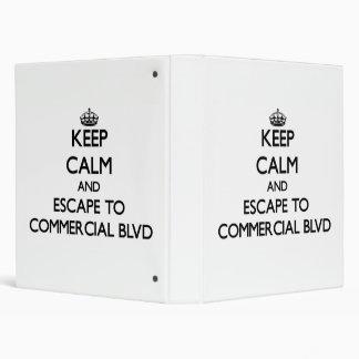 Keep calm and escape to Commercial Blvd Florida Vinyl Binder