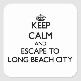 Keep calm and escape to Long Beach City New York Square Stickers