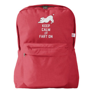 Keep Calm and Fart On with the cute French Bulldog Backpack