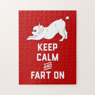 Keep Calm and Fart On with the cute French Bulldog Jigsaw Puzzle